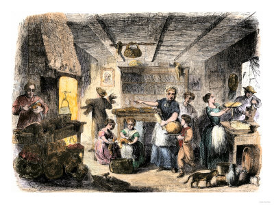 Family-preparing-thanksgiving-dinner-1850s