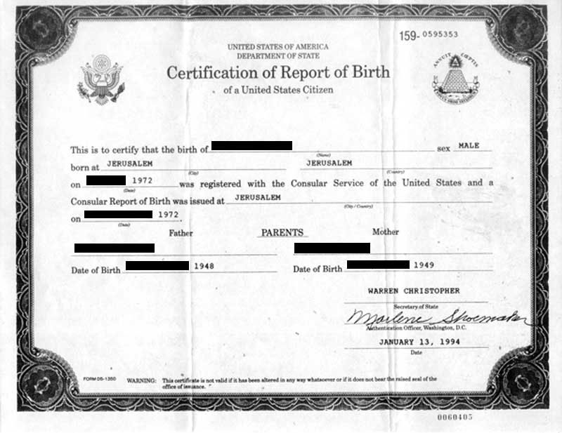 application for a citizenship certificate parents