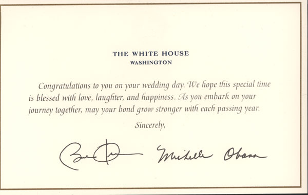 Wedding Card From The President Barack And Michelle Messages For Friends